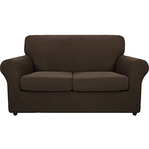 Sofabezug Jacquard Stretch Couchbezüge mit separaten Kissenbezügen, Loveseat Schonbezüge Stretch Anti-Rutsch mit elastischer Unterseite (Kaffee, große 2-Sitzer)