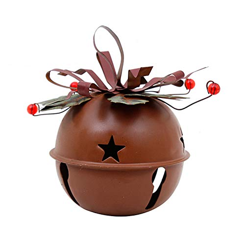 Rustic Metal Jingle Bell Decoration Cut Out Star Decorative Sleigh Bells Christmas Tree Ornament Xmas Holiday Decor Rustic Red (S)