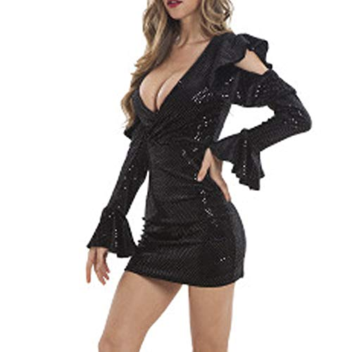 Wraith of East Women's Sequin Glitter Sexy Deep V-Neck Mini Dress Long Sleeve Ruffle Flare Bodycon Club Wear Evening Party Cocktail Gown X-L Black
