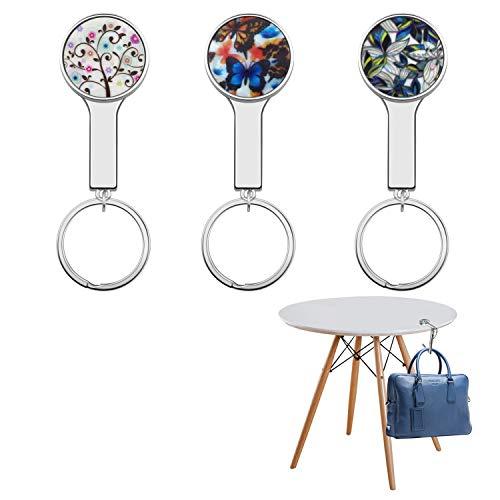 Taschenhalter, Welltop 3 Stück Handtaschenhalter für tisch, Taschenhaken Tragbare Tasche Haken Gliederhalterung mit Schlüsselbund perfekte Geschenkidee für Frauen, Freundin, Mutter