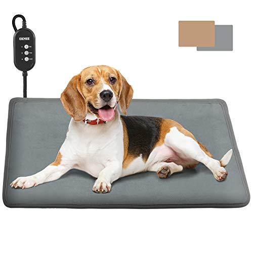 OKMEE Pet Heating Pad, Electric 12V Low Voltage Safety Dog Cat Heating Pad, Adjustable Warming Heating Pad for Pet, Soft Pet Heating Mat with Auto Power-Off Thermostats and Anti-Bite Tube(2 Covers)