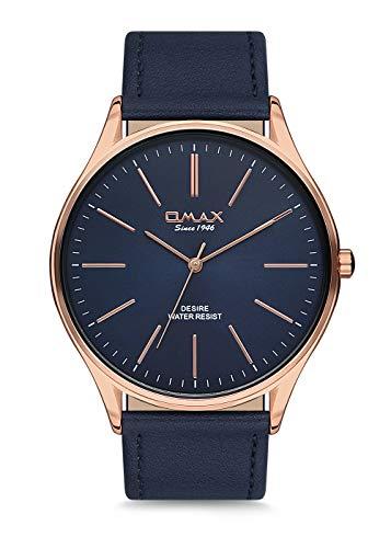 Omax Men's Wristwatch Rosegold Index Blue Leather Strap Japan Movement DX27R44I
