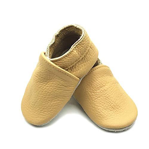 LPATTERN Unisex-Baby Neugeborene Jungen/Mädchen Weicher Leder Lauflernschuhe Krabbelschuhe Babyschuhe Hausschuhe, Einfarbig Gelb, 12-18 Monate