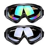 SENDILI 2-Pack Gafas de Esquí - Gafas de Esquiar para Unisexo, Resistentes al Viento, Lentes Anti-Reflejo,Talla única