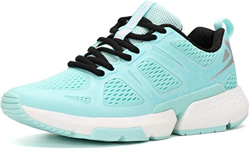 WHITIN Running Shoes for Women with Arch Support Size 8 Stylish Comfortable Cushioning Shock Absorbing Distance Flexible Light Low Top Lace Up Run Tenis Sneakers Light Blue