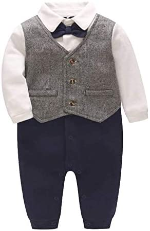 Xifamniy Baby Boy Gentleman Outfit Tuxedo Dress Up Suits Formal Jumpsuit Romper Wedding for product image