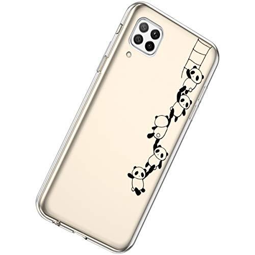 Herbests Kompatibel mit Huawei P40 Lite Hülle Silikon Weich TPU Handyhülle Durchsichtige Schutzhülle Niedlich Muster Transparent Ultradünn Kristall Klar Handyhülle,Panda String