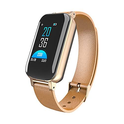 Gmjay Dual Bluetooth 5.0 Auricular Pulsera Inteligente Ritmo Cardíaco Rastreador de Presión Arterial Reloj Inteligente para Hombres Mujeres,Gold