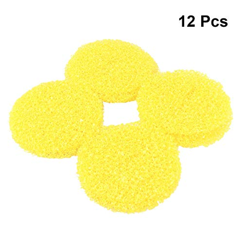 OUNONA 12PCS Shower Sink Filter Hair Catcher Hair Stopper for Kitchen Bathroom - Big Size Pop Up Drain (Yellow)