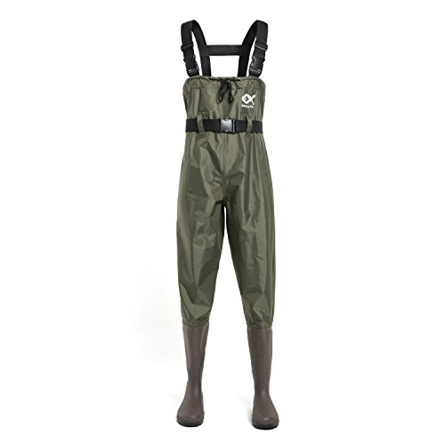 Duck and Fish PVC Chest Wader Cleated Boot Foot with Waist Belt (Size 13)