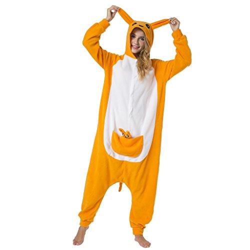 Katara-(10+ Modelos) Kigurumi Pijamas Disfraz de Animal Halloween Carnaval, Adultos, Color canguro, Talla 145-155cm (1744)