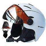 Snow Ski Helmet with Detachable Glasses – 2 in 1 Integrally-Molded Snow Helmet...
