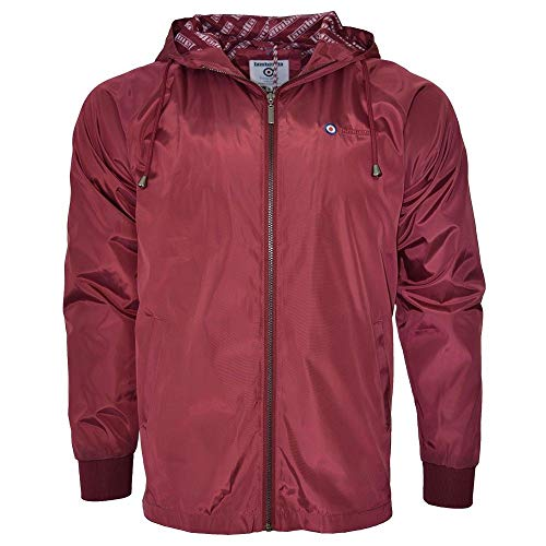 Lambretta Mens Lightweight Hooded Harrington Scooter Mod Jacket L Burgundy