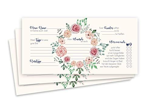 Luft & Liebe Gästebuchkarten – 50 Hochzeits Gästekarten DIN lang – kreative Fragen zum ausfüllen – Gästeliebhaber – kreative Alternative mit Blumendesign