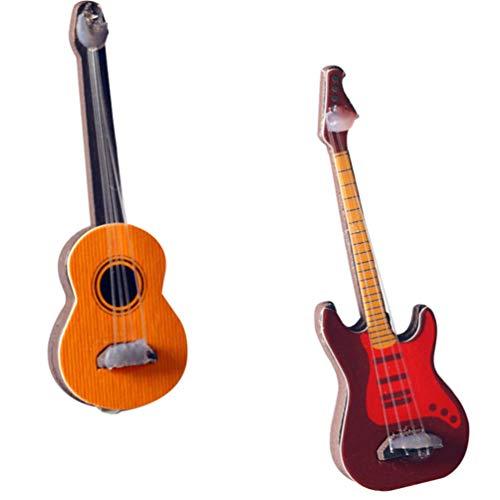 Toddmomy 2 Piezas de Guitarra en Miniatura Casa de Muñecas Mini Instrumento Musical Bajo Modelo de Guitarra Adorno para Navidad Accesorios de Jardín de Hadas Niños Juegan Juguete