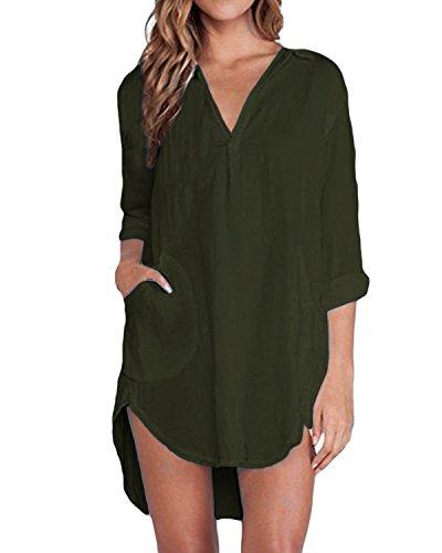 ZANZEA Bluse Damen Langarm Shirt Oberteile Casual V Ausschnitt Einfarbig Sexy Locker Tunika Tops A-Grün EU 44
