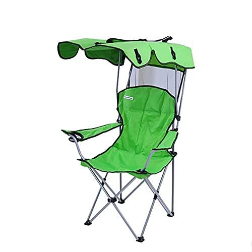 Silla De Camping Con Dosel, Silla Deportiva Plegable Con Sombrilla Y Bolsa De Transporte, Silla De Playa Portátil Y Liviana, Con Un Portavasos Silla Portátil Para Playa,Green-camp chair