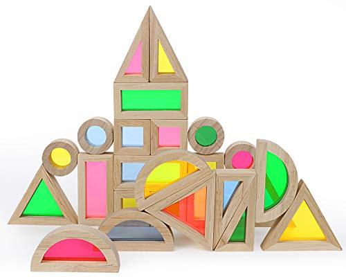 Lewo 24 Piezas Bloques de Construcción Bloques de Madera del Arco Iris Bloques de Madera Apilador Arcoiris Apilar Bloques Juguetes Educativos para Bebés Niños Pequeños Niños Niñas