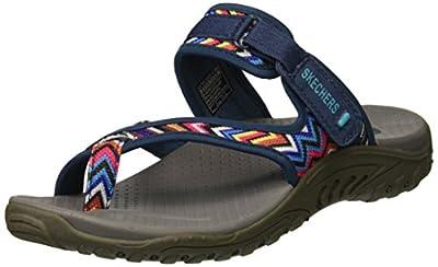 Skechers Modern Comfort Sandals Women's Reggae Zig Swag Flip Flop,Navy/Multi,9 M US