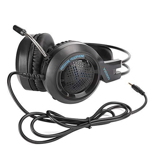 Cuffie on-ear cablate, auricolare stereo da 3,5 mm V2000 con microfono con eliminazione del rumore, auricolare con audio surround, luce LED e microfono con eliminazione del rumore per tablet PC Telefo