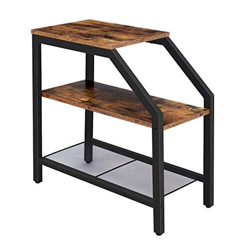 HOOBRO Beistelltisch, Nachttisch mit 3 Regalen, Nachtschrank industrieller, Sofatisch für kleine Räume, schmaler, Metallgestell, stabile und leicht montierbare, Möbel in Holzoptik, Vintage EBF60BZ01