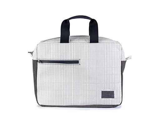 727sailbags Business Bag laptoptas voor dames en heren, lichtgrijs, materiaal van 100% gerecycled scheepsegel (Genua Atlantisch)
