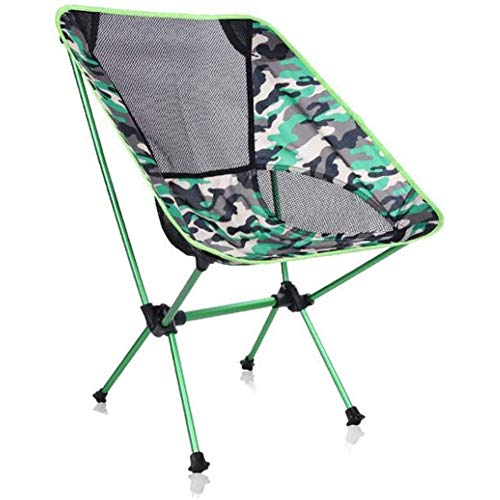 BHHT Beach Chair Lightweight Outdoor Camping Chair Folding Chair With Pocket And Carry Bag For Outdoor Fishing Beach Picnic Field Concert Hiking, Red,Blue,Green (Color : Green)