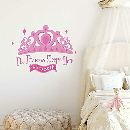 RoomMates Princess Sleeps Here Peel and Stick Giant Wall Decal with Personalization