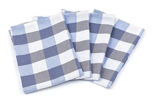 Zestri 4er-Set Geschirrtücher - Made IN EU - 100% Baumwolle - Kariert Geschirrhandtücher Saugstark Blau | 50 x 70 cm