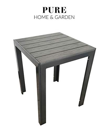 Pure Home & Garden Aluminium Gartentisch Fire Square mit Polywood Tischplatte, 60 x 60 cm absolut wetterfest, anthrazit