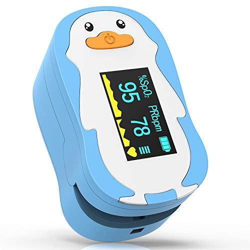 HOMIEE Pulsoximeter für Kinder, Fingerpulsoximeter zur Messung des Puls und der Sauerstoffsättigung, Oximeter mit OLED Display und einfacher One-Touch Bedienung (ohne Drehung/blau)
