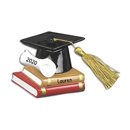 Personalized Diploma Christmas Ornament - Graduate Hat with Real Tassel on Books - College Under-Graduation PhD Masters Degree High End School New Girl Boy Congratulation Law - Free Customization