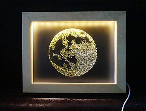 DIY string zijde driedimensionale nagel wikkeling met licht handgemaakte garen schilderij 15 * 20cm