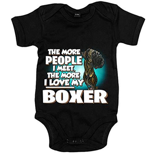 Body bebé I love my Boxer Atigrado raza perro - Negro, 12-18 meses
