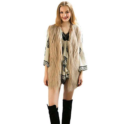feiXIANG Chaleco Chaqueta Moda Mujer Chaleco Largo Chaqueta sin Mangas Abrigo Chaqueta de Pelo Largo Chaqueta de Las señoras Invierno 2018 Nuevo Ventilador Internacional