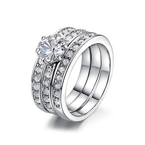 LXBIN Wedding Engagement Ring Set for Women 925 Sterling Silver 3pcs