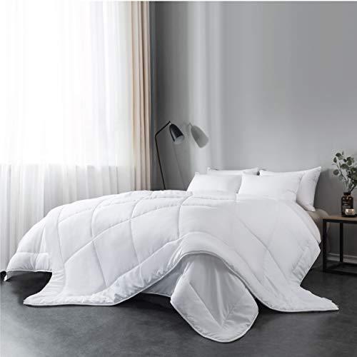 Everspread All-Season Down Alternative Comforter Duvet Insert, Soft Hypoallergenic Microfiber, Quilted Design, Machine Washable, Corner Duvet Tabs – White, Queen Size