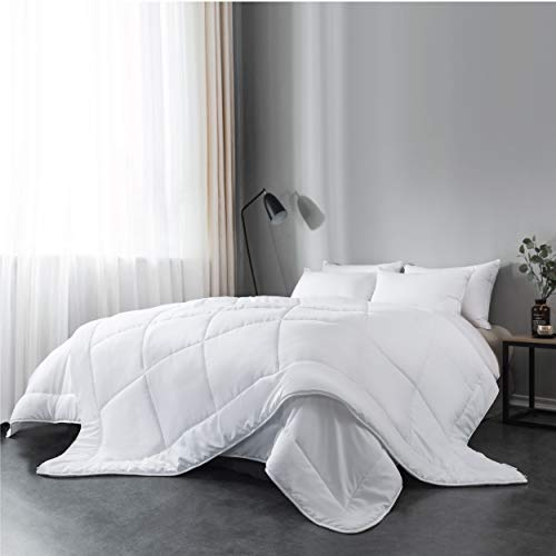 Everspread All-Season Down Alternative Comforter Duvet Insert, Soft Hypoallergenic Microfiber, Quilted Design, Machine Washable, Corner Duvet Tabs – White, Queen Size