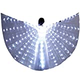 LED Isis Wing - Belly Dance Light Up Wing Party Club Wear with Flexible Sticks for Women(White)