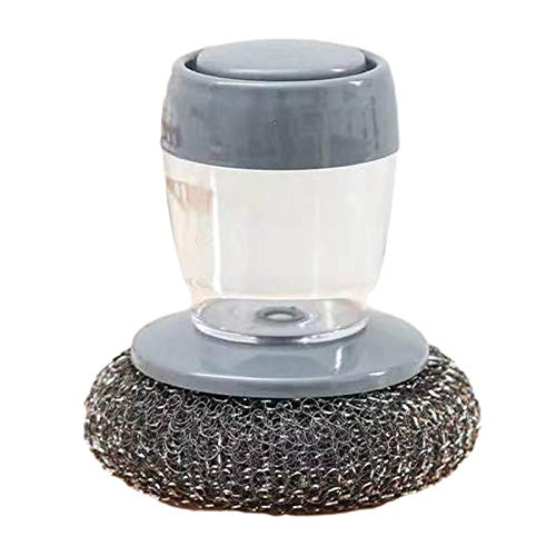 ampusanal Cepillo de Mano dispensador de jabón fregadora de Platos con dispensador de jabón Mini Cepillo de Fregar Utensilio Depurador de Alambre de Acero para Limpiar Huecos sartenes Mesa de Gifts