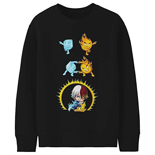 Okiwoki Pull Enfant Noir Parodie My Hero Academia - Shoto Todoroki - Une Parodie givrée (Sweatshirt de qualité Premium de Taille 11-12 Ans - imprimé en France)