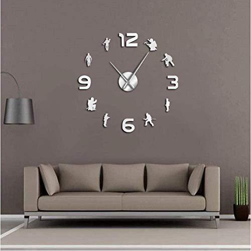 Reloj De Pared Bomberos Soldados De Fuego Diy Manos Grandes Reloj De Pared Grande Departamento De Bomberos Signo Frameles Reloj De Pared De Barrido Silencioso Regalo De Arte De Bombero-47 Pulgadas