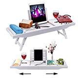 VIEFIN Bathtub Caddy Tray with Extendable Sides & Laptop Desk with Foldable Legs