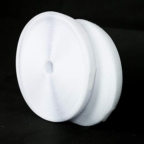 P17 Nastro a Strappo (Non Adesivo) da Cucito – 25 Metri x 20 mm – Striscia Extra Forte per Arredamento Casa Vestiti Abiti da Cucire – Corda Gancio e Anello – Colore Bianco