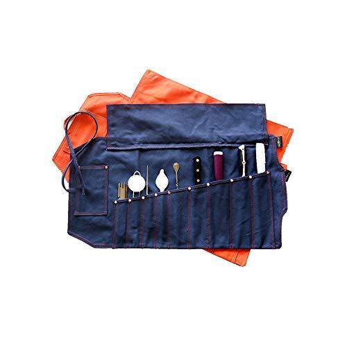NINAINAI Western Food Knife Storage Bag Chef Storage Bag Western Food Chef Tool Kit Cutlery Storage Bag Japanese Creative Western Food 9 Piece Set Cutlery Storage Bag (Color : Blue, Size : 74x37x3cm)