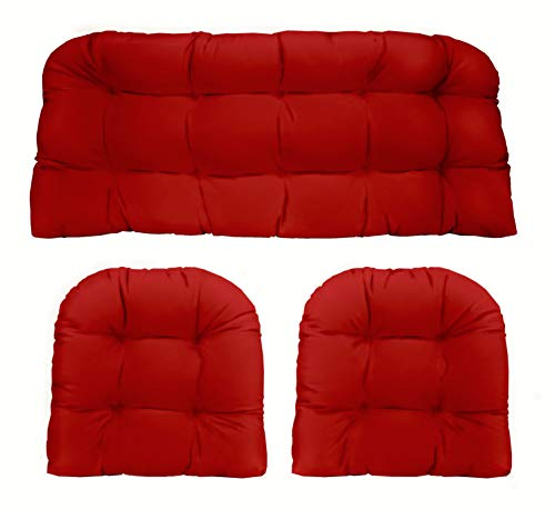 RSH Décor Indoor Outdoor 3 Piece Tufted Wicker Settee Cushions 1 Loveseat & 2 U-Shape Weather Resistant ~ Choose Color (Red Poly, 2-19'x19' 1-41'x19')