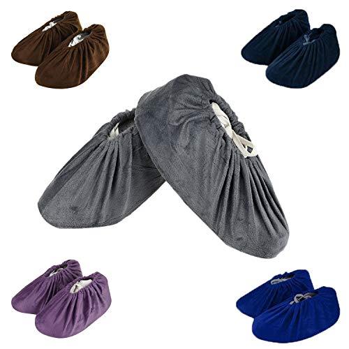 SIVENKE 5 Paare Schuhüberzieher Wiederverwendbar Schuhe Bedeckung aus Flanell Atmungsaktiv Stiefel/Schuh Überzug Antirutschen- 5 Farbe