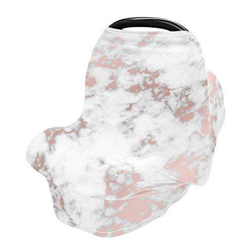 xigua Fundas suaves para asiento de coche de bebé, toldo para cochecitos de bebé, cubierta de delantal para lactancia materna, color blanco mármol abstracto