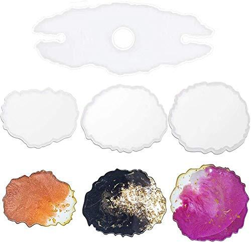 IHUIXINHE 1 Pezzo Stampo in Resina Epossidica per Calici da Vino, con 3 Pezzi Stampi per Sottobicchiere in Resina, Stampo in Silicone Irregolare per Vassoio, Sottobicchieri Epossidici