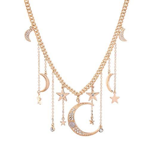 QEPOL Dainty Fashion Bohemia Crystal Crescent Moon & Star Collares Borla Colgantes...